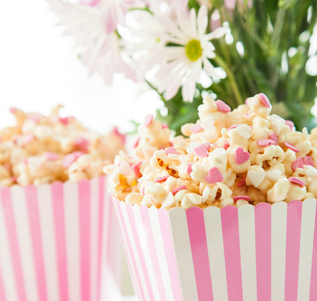 Popcorn with pink hearts