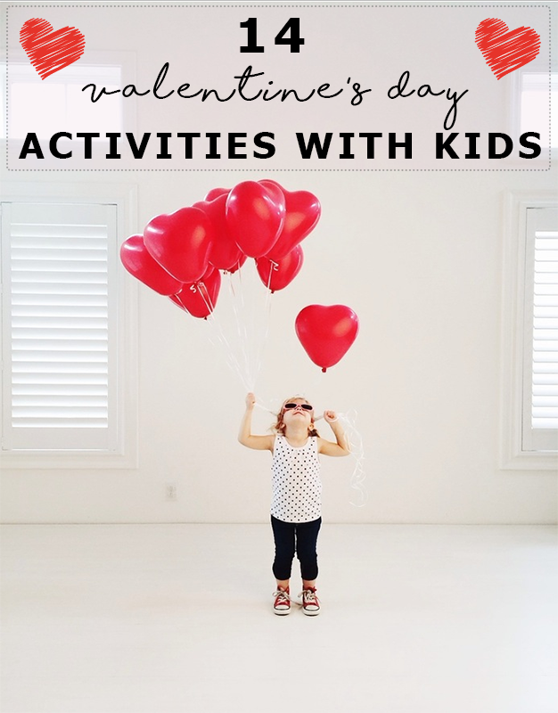 girl with red heart baloons - Valentines Day With Kids